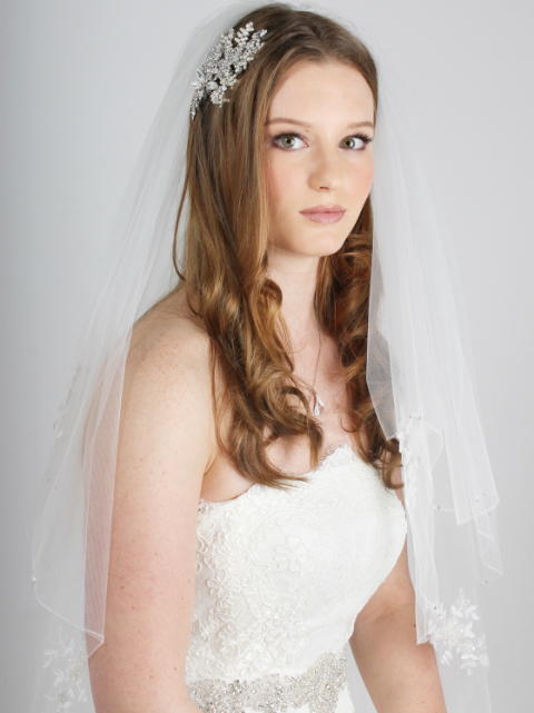 Beaded Lace Applique Wedding Veil